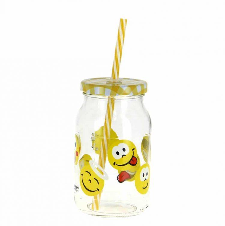 Εικόνα από Δοχείο Γυάλινο 400 ml, σχέδιο Emoticons, με καπάκι και καλαμάκι, Cerve Italy