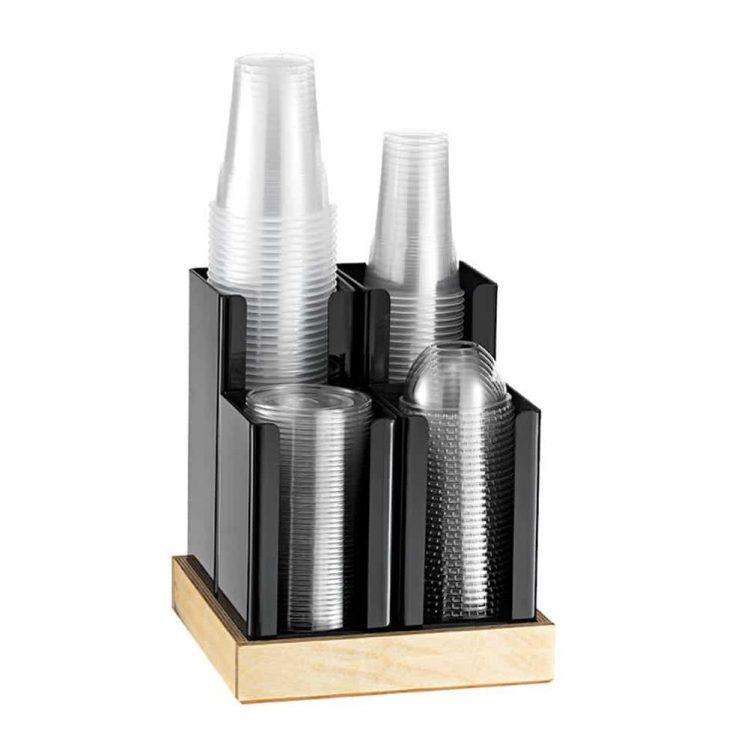 eikona apo Πλαστική θήκη 4Θ, με ξύλινη βάση, 23x23x25cm, μαύρη